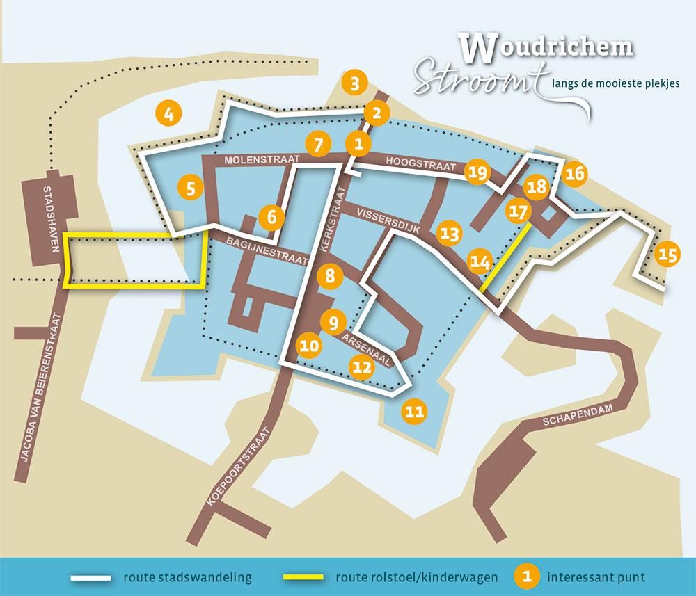 plattegrond met daarop de route van de stadswandeling Woudrichem